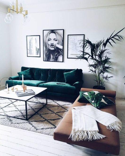 Decoración sofá terciopelo