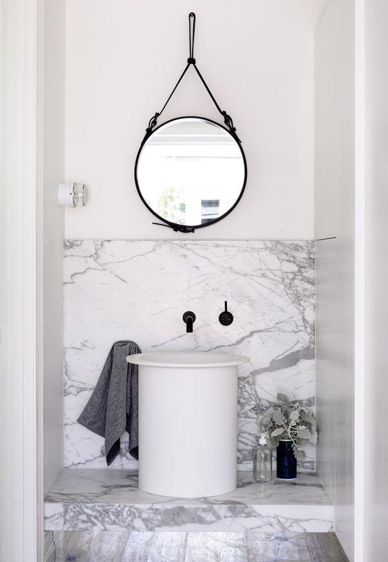 decoración espejo redondo